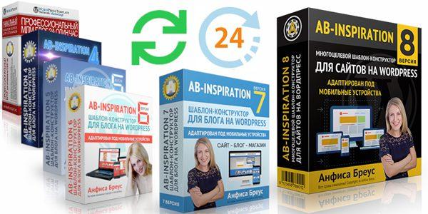 Обновление блога на WordPess с бесплатной заменой любого старого шаблона «AB-Inspiration» на новый 8-й версии и выше, включая бесплатные и платные премиум плагины.